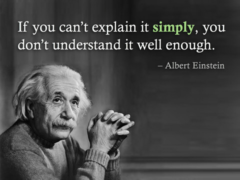 "A photo of Albert Einstein with a quote, ""If you can't explain it simply, you don't understand it well enough."""