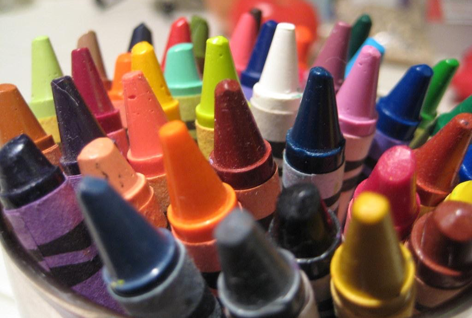 Several colors crayons in a jar