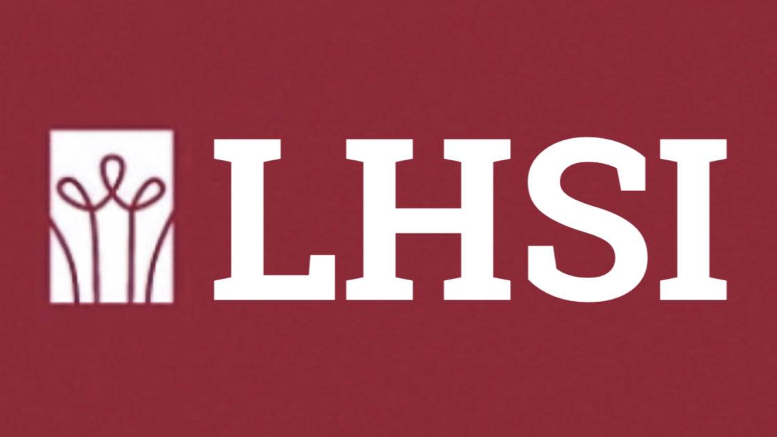 Logo of LHSI lightbulb with LHSI name along red background